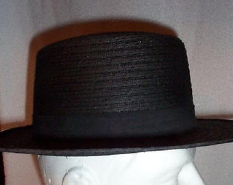 Sale.....Sale..........NEW Vintage authentic MANHATTAN WAGONERS Amish Mens Black Straw Hat