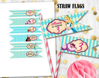 Alice straw flags Cupcake toppers Alice in Wonderland straw flags toppers