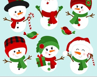 Snowmen Clipart, Snowman Clipart, Snowman Clip Art, Christmas Clipart, Printable, Commercial Use
