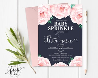 Floral Girl Baby Sprinkle Invitation Printable Floral Girl Baby Shower Invite