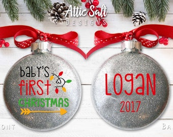 Baby's First Christmas Ornament, Personalized, New Baby, Christmas Ornaments, Baby Shower Gift