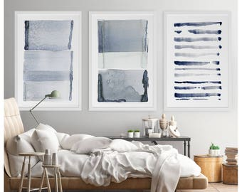Modern Abstract Wall Art, Wall Art Set of 3, Wall Art Set Abstract, Brush Stroke Art, Large Modern Minimalist Art, Navy Blue Gray Wall Art