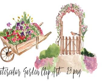 23 Watercolor Garden Clip Art Set