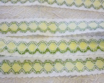 "5 yards Vintage Lace 1"" Pastel Lovely Lace 5 Yards Yellow Green White Lace"
