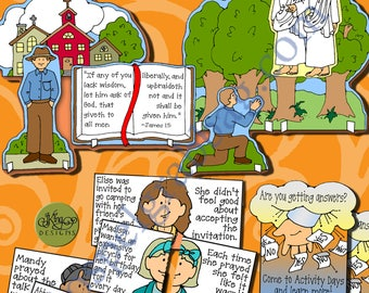 Activity Days Learning & Living the Gospel GOAL 2 -PRINTABLE Invite/Activities First Vision Post-and-Present, Puzzled about Prayer MatchGame