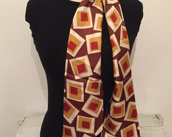 Vintage Scarf - Retro Scarf - Long Scarf - Funky Scarf - Bold Scarf - Gold Brown