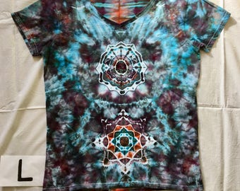 Handmade ice dyed V neck shirt, Women's tie dye T shirt, Large