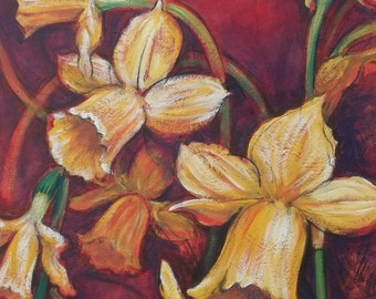 "Tete-a-Tete Daffodils 16 x 20"" Original Painting"