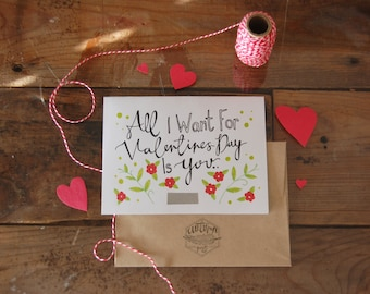 Scratch-off All I Want For Valentines Day is You (Naked) // Scratch off paint // Hidden Word // Illustrated Blank Card