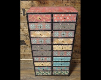 Tall Patterned Drawer Cabinet