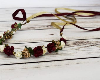 Handcrafted Burgundy Ivory and Gold Flower Crown - Woodland Halo - Wedding Accessory - Romantic Gifts - Renaissance Headband - Wine Wreath