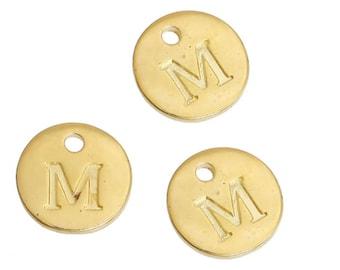 Letter M - 12mm Golden gold pendant