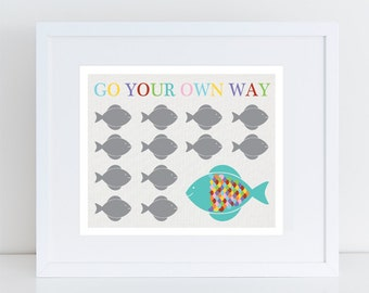 go your own way fish print nursery art, rainbow colourful kids art, finshing art, sea themed nursery decor, ocean animal artwork, baby decor