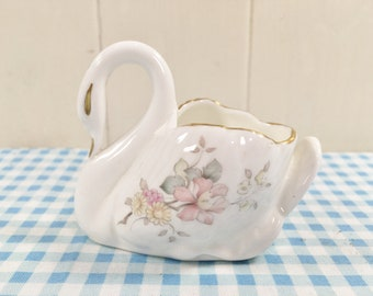 Vintage Swan Ornament Posy Vase 'Mystic Dawn' by Royal Doulton 1985 Bone China