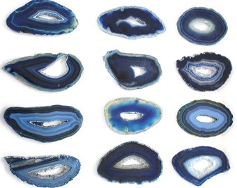 Agate Slices - Druzy  Blue Agate Slice - Wire Wrapping - Chakra - Metaphysical Extra Grade Agates (RK136B8)