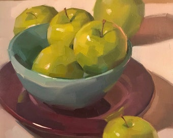 "Fine Art painting green apple still life ""Three In, Three Out"" 10x10"" original oil on canvas by Sarah Sedwick"