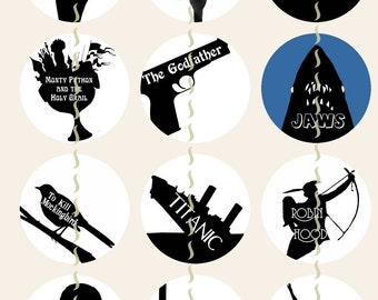 """Movie Silhouettes Magnets, Classic Movie Magnets, Classic Movie Pins, Movie Cabsachons, Movie Party Favors, Literary Magnets, 1"""", 12 ct"""