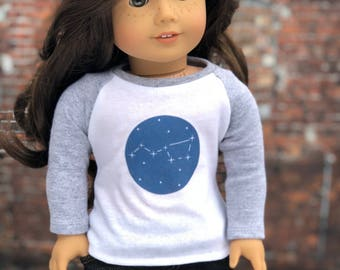 Doll Clothes | Trendy Gray Heather Big Dipper Graphic Long Sleeve Fitted BASEBALL TEE for 18 Inch Dolls