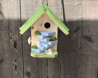 Outdoor Birdhouse Unique Rustic Wooden Bird's House For Garden Birds, Whimsical Handmade Primitive Painted Birdhouses, Item #521925776