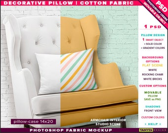 14x20 Decorative Pillow Cotton Fabric | Photoshop Fabric Mockup M1-1420-2 | Cushion on White Rocking Chair | Smart Object Custom colors