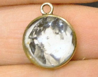 Gold Filled Glass Bubble Pendant Charm Vintage Jewelry
