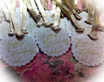 Custom Birthday ~ Wedding ~ Calligraphy Tags ~ Thank You Favor Tags ~ Place Cards ~ Escort Cards ~ Curvy Font ~ Handwritten ~ Affordable