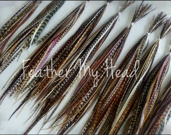 Feathers For Feather Extensions - Jewelry - Crafts - Variety Pack Of 100 Feathers Medium Lenfth 7 to 9 In (18 - 23 cm) Long - Natural Colors