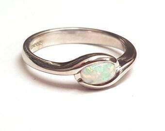 Birthstone sterling silver ring