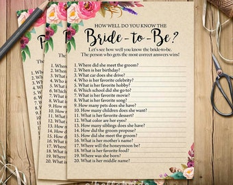 Printable Bridal Shower Games - How Well Do You Know the Bride To Be Game - Printable Boho Bridal Shower - Who Knows the Bride Best? 003