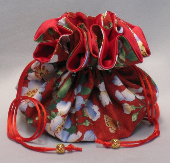 Jewelry Tote---Drawstring  Organizer Pouch---Butterfly Floral Garden Design----Large Size