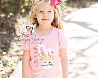 Floral Easter Bunny Shirt for Girls, Floral Bunny Shirt, Baby 1st Easter, Embroidered, Personalized, Applique, Monogrammed, Custom Outfit