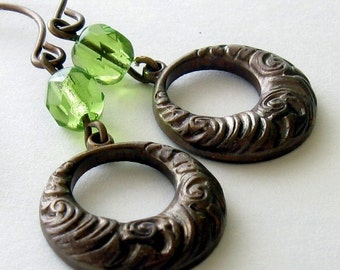 Art Deco Earrings, Green and Brown Earrings