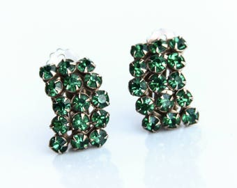 Vintage Green Rhinestone Clip-on Earrings ~ Vintage Costume Jewelry ~ Emerald Green Rhinestones