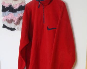 Vintage 90s warm red polar sweatshirt with big NIKE logo at the back // branded nike sportswear oldschool