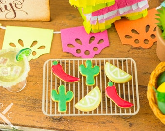 Made to Order Miniature Cinco de Mayo Cookies - Half Dozen - 1:12 Dollhouse Miniature