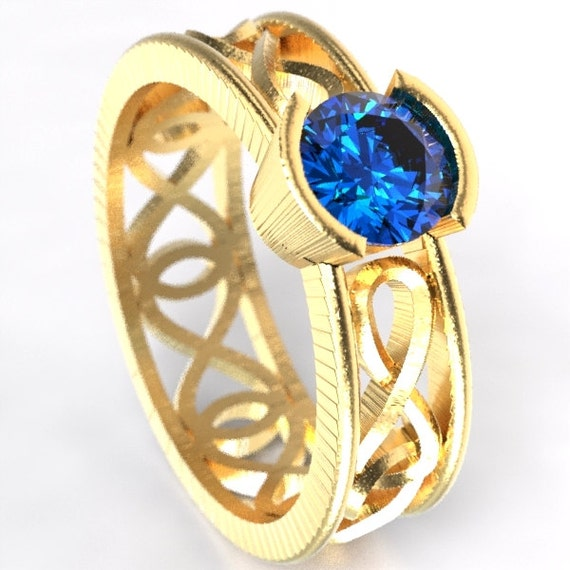 Gold Celtic Blue Sapphire Ring With Infinity Symbol Design in 10K 14K 18K or Palladium, Made in Your Size Cr-1027