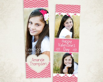 Valentines Bookmark Photoshop Template for Photographers  001- ID174, Instant Download