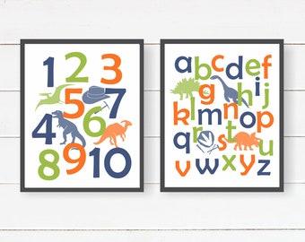 Dinosaur Number Art - CHOOSE COLORS - Dinosaur Nursery, Baby Shower Present, Dinosaur Alphabet Art, Gift For New Parents, Dinosaur Kids