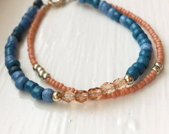 Double Stack Pink, Blue, and Silver Beaded Bracelet