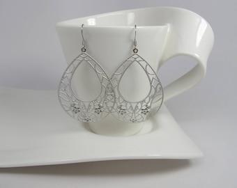 Huge Silver Dangle  Filigree Earrings Bohemian  Earrings Boho Chic Silver earrings Jewelry Moroccan Earrings Bohemian Wedding Bridal