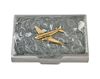 Airplane Large Business Card Case Inlaid in Hand Painted Enamel in Silver Swirl Design Diselpunk Inspired Personalized Option Available