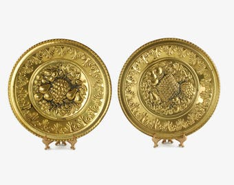 Vintage English Embossed Brass Wall Plates With Pineapple, Grape and Fruit Motifs