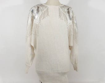 Fringe Sequin Sweater Vintage 1980s Knit White Batwing Beaded