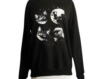 Cat Sweatshirt - Three Cat Moon Sweater - Unisex Sizes S, M, L, XL