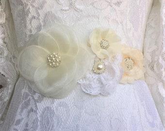Wedding Flower Sash, Ivory, Off White, Pearl Brooches Bridal Dress Gown Waist Ribbon Sash Belt Flower Girl Prom Bridesmaid Custom Sash Belt
