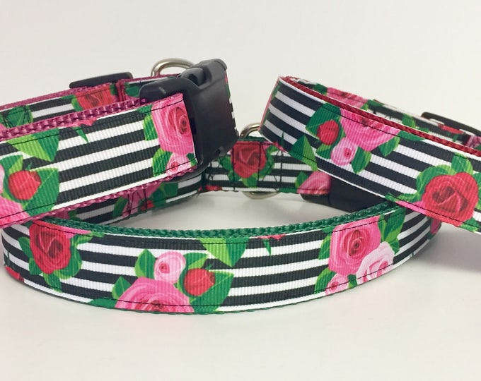 Featured listing image: Dog Collar - Flower - Black Stripe - Rose - Beautiful - Pet - Wedding -  Garden - Rose - Gift for her