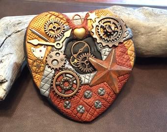 Mixed Media Steampunk Polymer Clay Heart Pendant