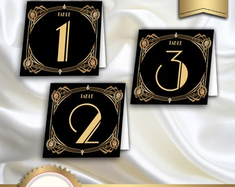 Great Gatsby Art Deco Table Cards 1-60, Table Numbers, Table Decoration -  1920's, 20's Style - Black and Gold - Instant Download, GG02