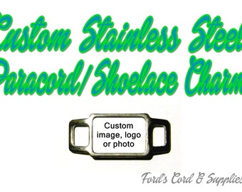 Custom Stainless Steel Paracord Charm, Shoelace Charm for Paracord Bracelets & Much More Qty 1 Rectangle Charm