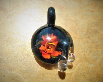 hand made blown glass galaxy pendant, glass pendant, borosilicate glass, glass necklace, art glass pendant